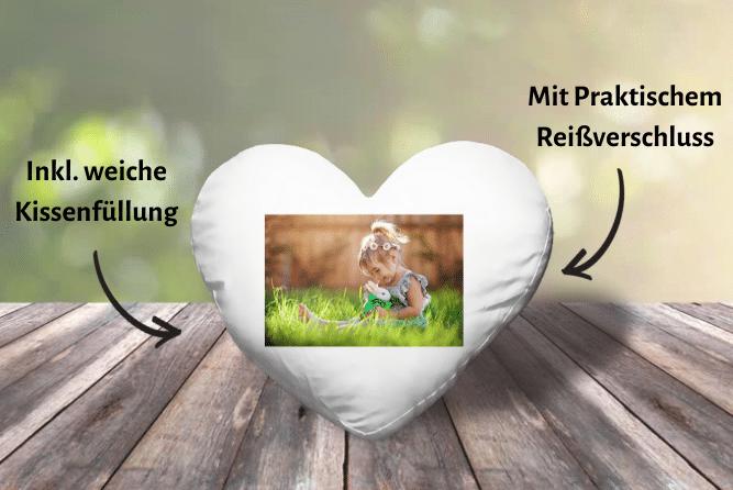 Herzkissen mit Foto Design von Rechts