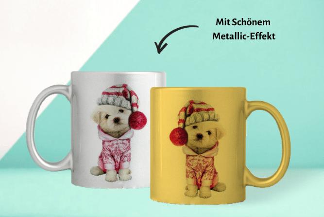 Fototasse mit Metallic Effekt Design Mitte