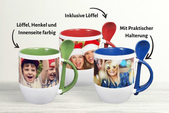 Kaffeebecher mit Löffel Design Mitte
