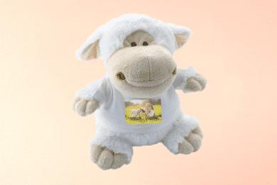 Kuscheltier Schaf mit Foto selbst Gestalten